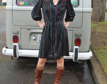 Vintage 80's Colorful Stripe Black Dress