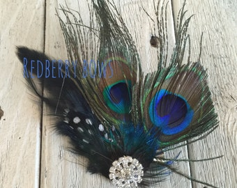 PEACOCK FEATHERS with Rhinestone CLIP