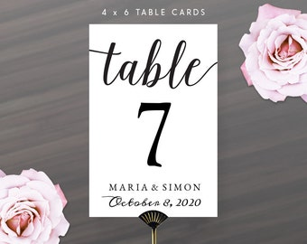Printable DIY Table Number Cards 4X6 | Calligraphy Table Numbers with Name and Wedding Date | Instant Download