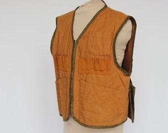 70's Zip Front Game Vest / Hunting Vest / Mens / Bronze Brown / Medium to Large