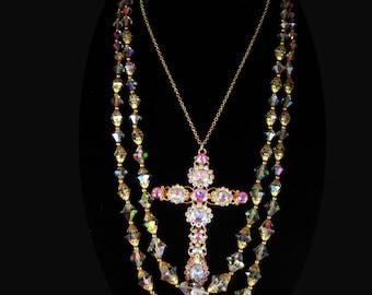 Gothic Medieval Cross statement necklace chandelier aurora borealis glass 40's necklace brilliant rhinestone HUGE pendant