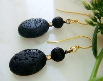 SALE Modern Stacked Lava Rock Earrings