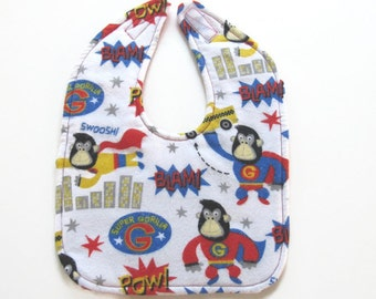 Super Gorilla Baby Bib - Flannel Super Hero Baby Bib - Large Flannel Baby Bib  - Ready To Ship