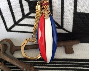 Awesome Vintage Red, White and Blue Long Plastic Oval Keychain 1960's 1970's Patriotic America Fourth of July