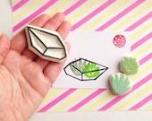 succulent terrarium rubber stamp set. geometric terrarium hand carved rubber stamps. birthday scrapbooking. spring crafts. set of 3. no3