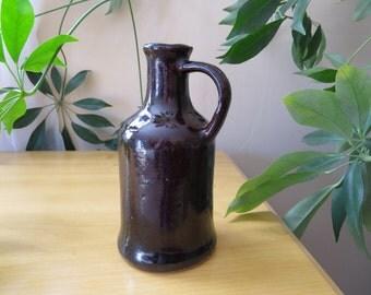 Small Vintage Pitcher, Ink Pourer Bottle,  Salt Glaze, Collectible Home Decor, Little Brown Jug