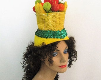40s Style Vintage Carmen Miranda Fruit Hat, Tall Yellow Turban Fruit Basket Headdress, Multi Color Glitter Flocked Fruit, Chiquita Costume