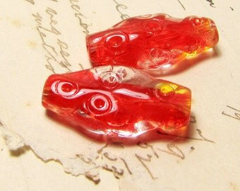 flat oval glass beads - vintage 1930s red and clear pressed glass - 2 beads - instant earrings - 24mm