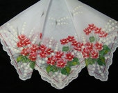 Vintage Scalloped Pink Floral Lily of the Valley Wedding Handkerchief or Doily, 9738
