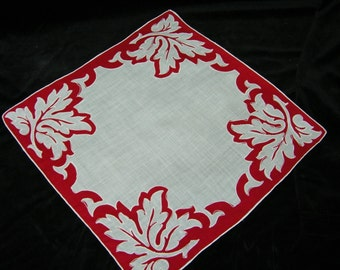 Vintage Red and White Leaves Floral Wedding Handkerchief or Doily, 9748