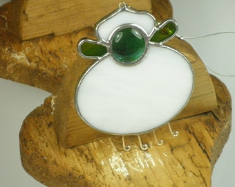 White and green Stained glass Sheep Suncatcher, Window Ornament Christmas Decoration