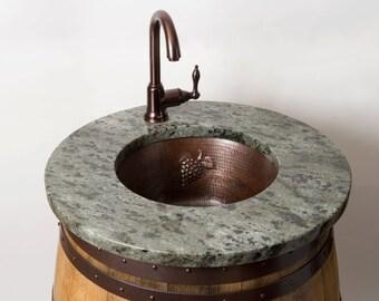 Wine Barrel Bar Sink with Granite Top