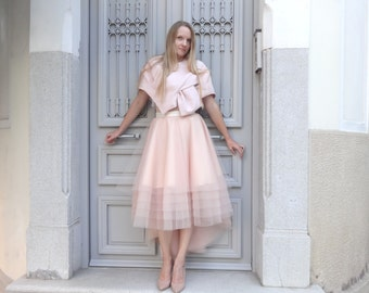 Robe de Mariée /tulle SKIRT High-Low Assymetrical / DustyRose Nude Blush/ Custom with Satin Lining Bridal Separates