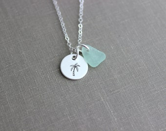Sterling Silver Palm Tree Necklace with Coconuts, genuine Sea Glass Hand Stamped Sterling Disc, Tropical, Satin Finish Simple Beach Necklace