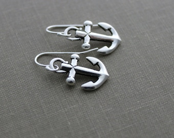 Anchor Earrings - Silver tone Pewter charms with sterling silver ear wires - Nautical Jewelry - Beach Jewelry - Charm Earrings