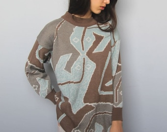 art school sweater -- vintage 80s abstract gecko print oversized sweater  -- S/M/L