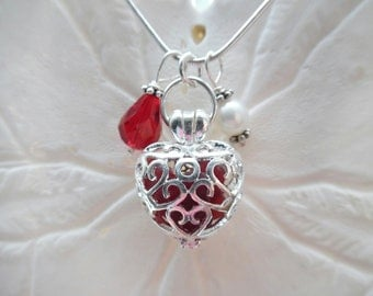 Red Heart Sea Glass Necklace Jewelry Locket Beach Glass Christmas Pendant