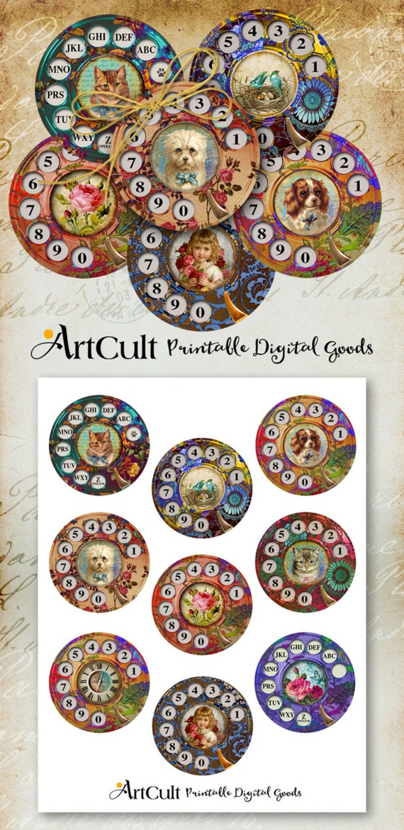 """Printable download """"CALL ME"""" 2.5 inch size Circle Images Digital Collage Sheet for Pocket Mirrors magnets coasters paper weights ArtCult"""