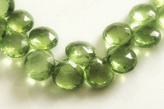 Peridot Heart Briolettes Faceted Brios 2 Matched Pairs