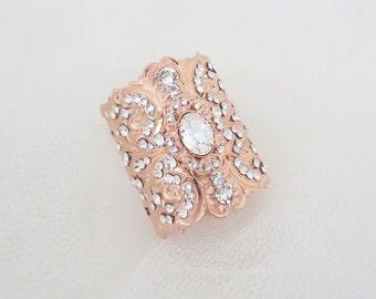 Rose Gold Bracelet, Swarovski Crystal Bracelet, Bridal Jewelry, Rose Gold jewelry, Bridal Bracelet, Wedding jewelry, Statement bracelet