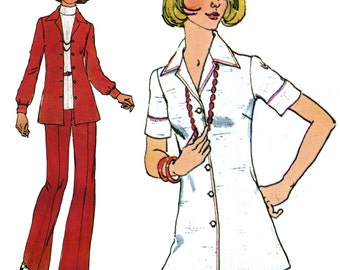 1970s Casual Suit! Vintage ©1974 Simplicity Sewing Pattern 6790, Misses' Jiffy® Shirt and Pants, Size 16, Uncut with Factory Folds