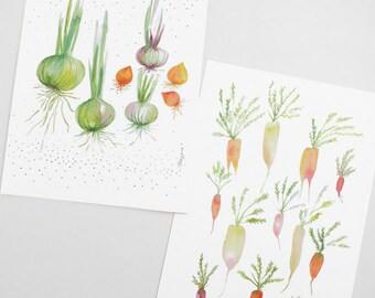 Garden Vegetable Watercolor Painting Reproduction Postcard - Nature Green Veggie Illustration Art Card - Onion Carrot Illustration Card