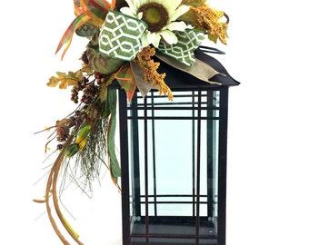 Fall Lantern Swag w Cream Sunflower, Pumpkin Lantern Swag, Farmhouse Style Lantern Swag, Mantle Decor, Autumn Lantern Swag