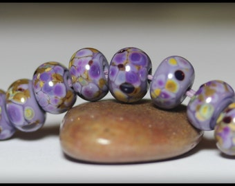 Lampwork Beads, Handmade Beads, Glass Beads, Bead Set, Jewelry Supplies, Purple, Lavender, Olive Green, Khaki, Green, Brown, Rondelle, Frit