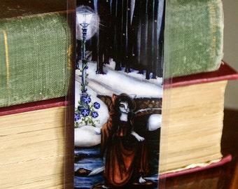 Fantasy Cat Bookmark, Winter Woods Bridge Over River Paper Bookmark