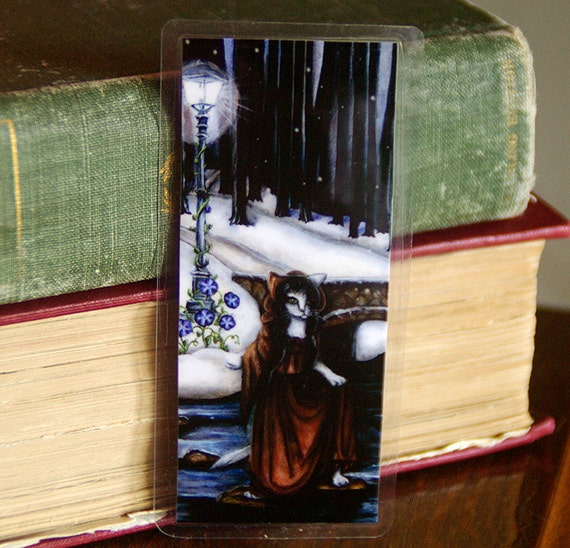 Fantasy Cat Bookmark, Winter Woods Bridge Over River Paper Bookmark