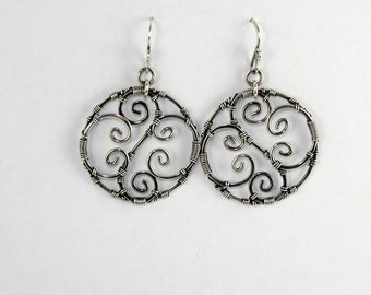 Silver Filled Hoop Earrings, Wire Wrapped, Lightly Oxidized, Handmade, STERLING SILVER EARWIRES
