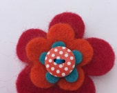 Handmade 'MOD FLOWER' Brooch / Pendant made with Pure wool felt and a spotty wooden Button - Red & Teal - Retro