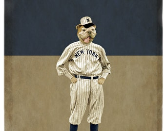 New York Yankees Art English Bulldog Dog Artwork Baseball Pet Portrait Dog Print Animal Photography - Into the Bullpen