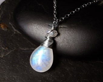 Rainbow Moonstone Necklace, AAAA Grade Moonstone on Sterling Silver - Whitewind by CircesHouse on Etsy