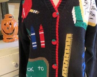 Vintage Novelty Teacher Sweater - Back to School Sweater - Size M - School Motif Sweater - Apple Buttons - Fall Harvest Sweater - Novelty