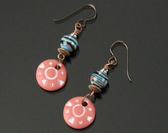Terracotta Clay Earrings, Rustic Boho Dangle Earrings, Ethnic Jewelry, Unique Gift for Women Niobium Earrings, Earthy Tribal Earrings