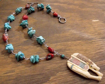 """Carved Horse Necklace with Turquoise and Coral Nuggets on Sterling Silver, Southwest Style """"Fine Filly"""""""