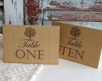 Elegant Vintage Burlap Background with Rustic Tree Table Number Cards Handmade by avintageobsession on etsy