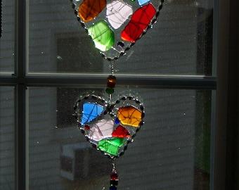 Sea Glass Suncatcher with Triple Heart Design and Rare Dark Sea Glass Colors