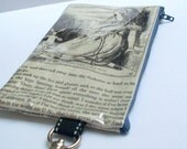Book Purse Upcycled Alice in Wonderland pages with Alice and White Rabbit Repurposed into a sweet little purse with key ring clasp