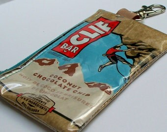UPCYCLED Clif Bar wrapper RECYCLED into coin purse with keyring clasp