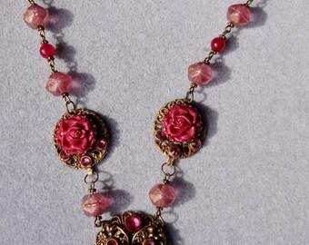 SALE--Vintage Burgundy Roses and Rhinestones necklace--OOAK