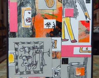 Abstract Mixed Media Collage Original Framed