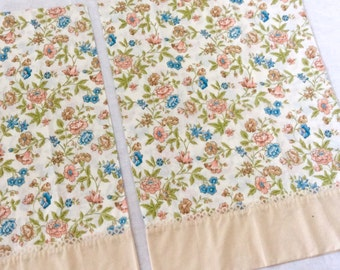 2 Flower Pillowcases with Lace in Peach Blue Cream Flowers