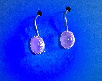 Brazilian Rose Quartz Gemstones set in Oval Sterling Silver Hand Made Bezel Earrings