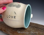 Pottery Mug in Turquoise with Hearts and Love Inscribed - Coffee Mug - Large Mug - by DirtKicker Pottery