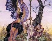 6x9 PRINT Gathering at Dawn dragon fairy by Amy Brown