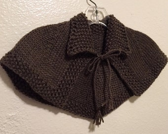 Claire Hunt Capelet Shawl Outlander Hand Knit Made to Order 8 Colors SuperWash Wool