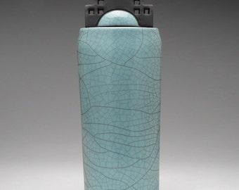 Ceramic vessel, turquoise green, raku fired art pottery,handmade, ,home decor