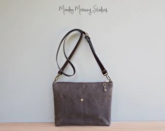 Waxed Canvas Handbag in Seal Brown, Canvas Shoulder Bag with Custom Length Leather Strap, Plus Size Crossbody Purse, Handmade in the USA